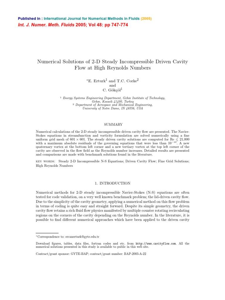 Cavity Erturk | Navier–Stokes Equations | Fluid Dynamics