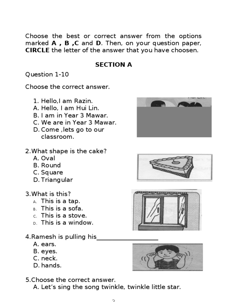 Circle The Letter Of The Answer That You Have Choosen Section A