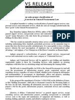 NR # 2452B 07.01.2011_Solon seeks proper classification of contractual services in General Procurement Law