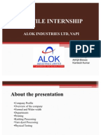 summer training report alok industries Dyeing manager jobs at alok industries limited in vapi,india browse & apply for latest dyeing manager jobs, openings, vacancies at alok industries limited in vapi,india.