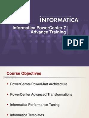 Informatica Advanced Training | Cache (Computing) | Subroutine