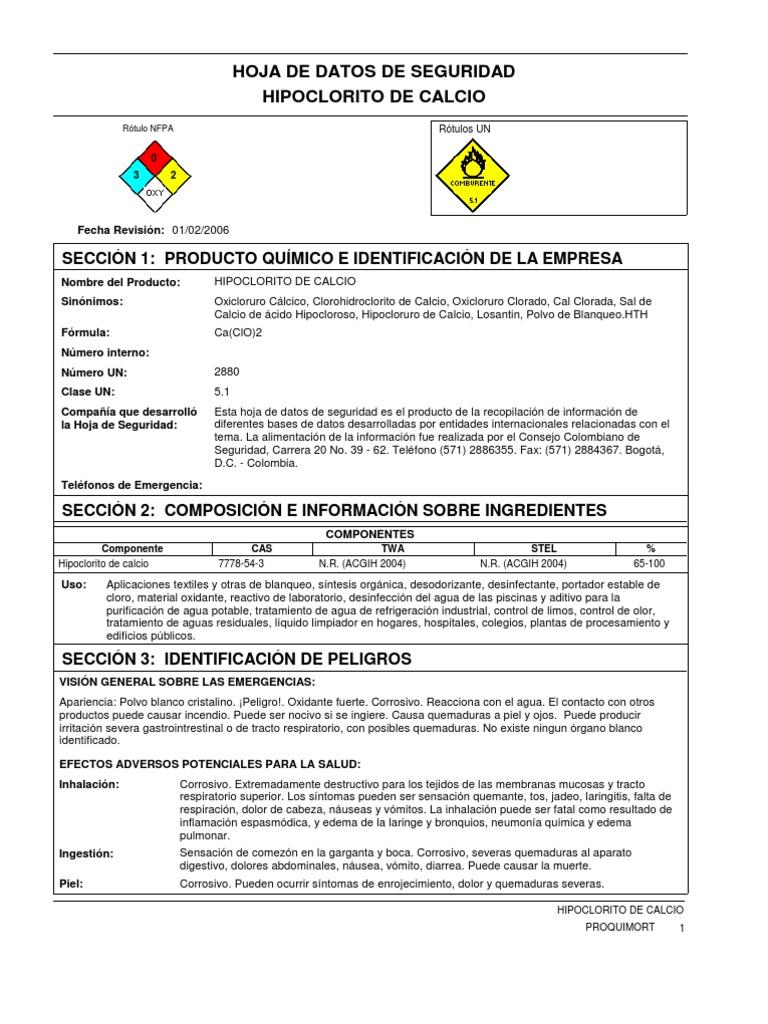 Hipoclorito de calcio for Hipoclorito de sodio para piscinas