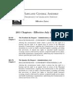 MD Legislation Effective July 1 2011