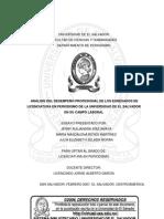 Análisis del desempeño profesional de los egresados de Licenciatura en Periodismo de la Universidad de El Salvador en su campo laboral