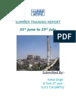 33369999 Summer Training Project Report on NTPC by Prateek Jain VIT University