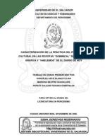 """Caracterización de la práctica del periodismo cultural en las revistas """"Dominical"""" de La Prensa Gráfica y """"Hablemos"""" de El Diario De Hoy"""
