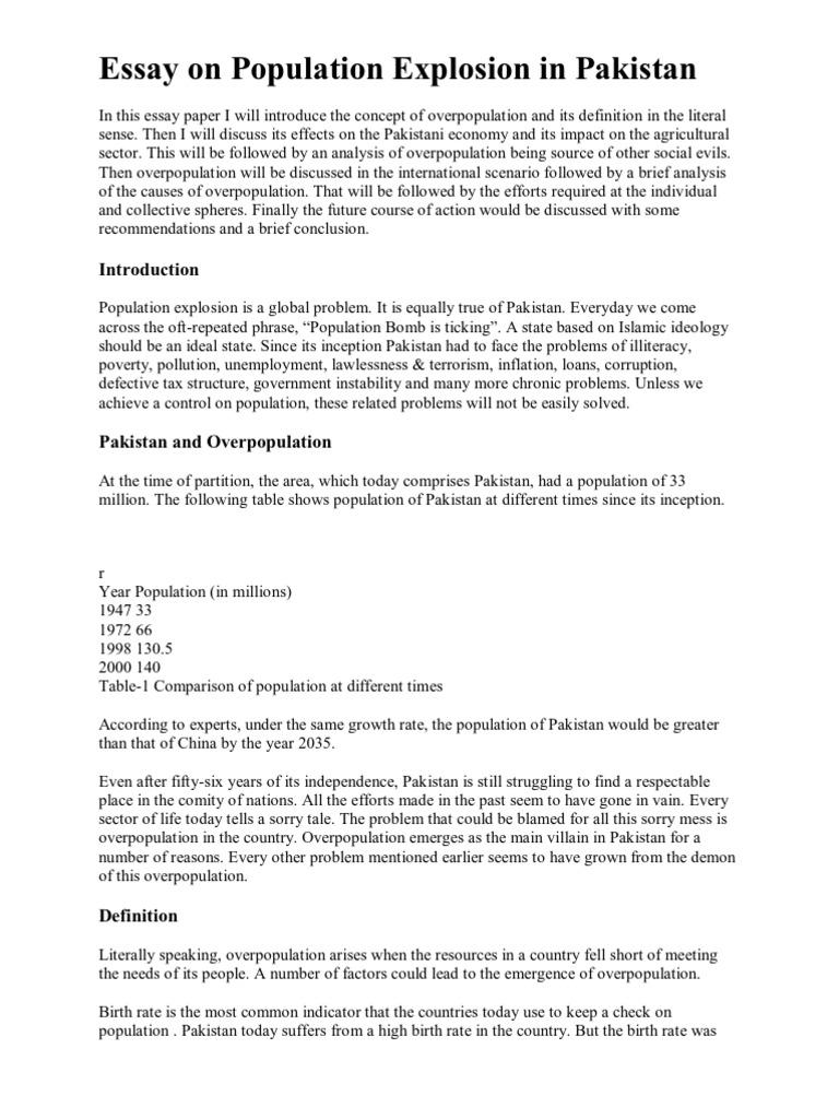 essay on overpopulation in 200 words
