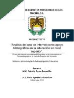 Análisis del uso de Internet como apoyo bibliográfico en la educación en nivel superior