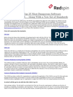 The CWE SANS Top 25 Most Dangerous Software Errors Announced-Along With a New Set of Standards