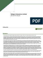 Religare Enterprises Ltd 250511