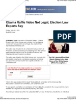 Obama Raffle Video Not Legal, Election Law Experts Say
