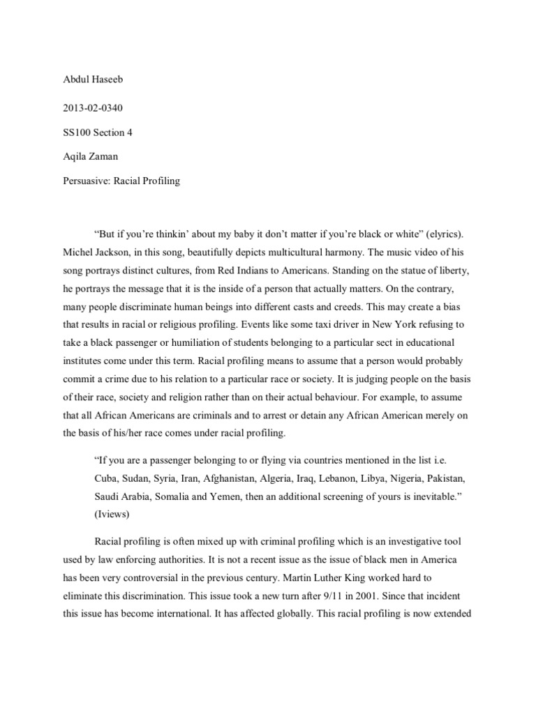 persuasive essay on racial profiling
