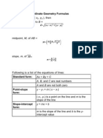 Summary of Coordinate Geometry Formulas