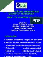 DETERMINAÇÃO DE AMINOÁCIDOS COM NINHIDRINA