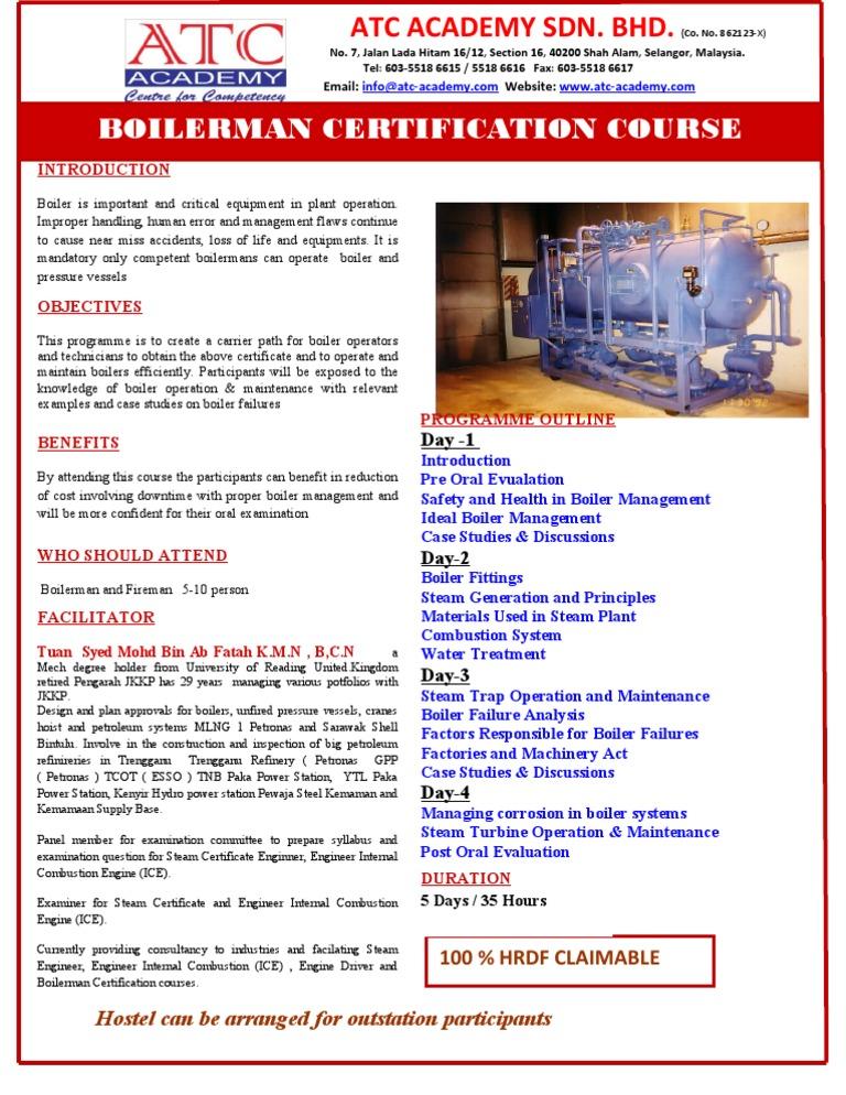 Boilerman Certification Course Boiler Steam