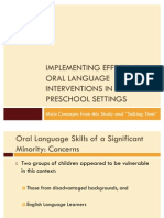Implementing Effective Oral Language Interventions in Preschool Settings