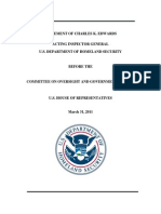 STATEMENT OF CHARLES K. EDWARDS ACTING INSPECTOR GENERAL U.S. DEPARTMENT OF HOMELAND SECURITY BEFORE THE COMMITTEE ON OVERSIGHT AND GOVERNMENT REFORM U.S. HOUSE OF REPRESENTATIVES March 31, 2011