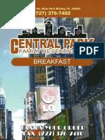 Central Park Breakfast Menu