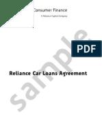 Reliance Car Loan Agreement