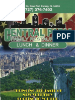 Central Park Lunch and Dinner Menu