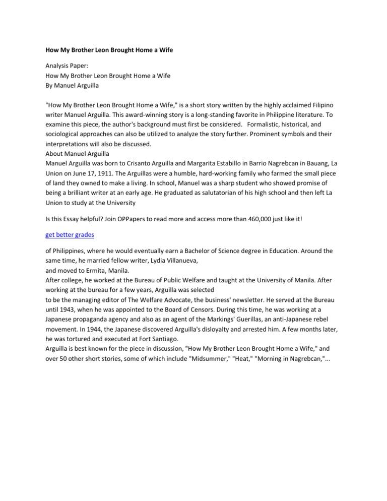 short story analysis of filipino writer A gynocritic reading of selected filipino women writers' short stories  reading of selected short stories written by filipino women  content analysis .