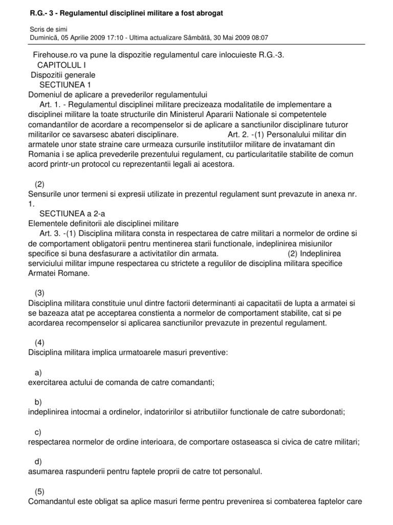 Rg3 regulamentul Disciplinei Militare a Fost Abrogat