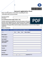 Blue Badge Discount Registration Form