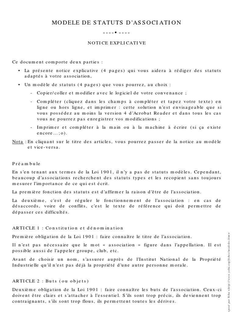 Statuts Association