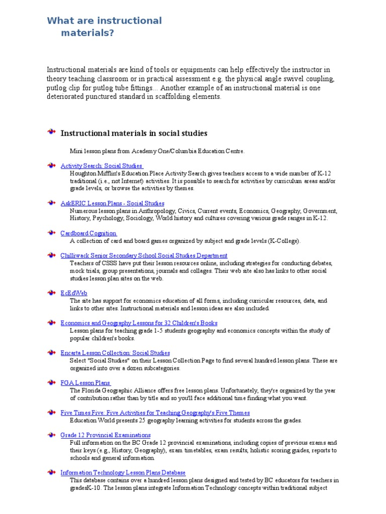 What Are Instructional Materials Lesson Plan Curriculum