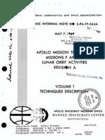 Apollo Mission Techniques. Missions F and G Lunar Orbit Activities. Revision a, Volume 1 Techniques Description