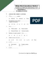 MCQs-Short Questions Math FSc Part1