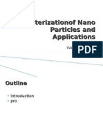 Characterization Of Nano Particles and Applications