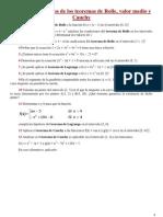 Ejercicios de Teorema de Funciones Derivables y Continuas