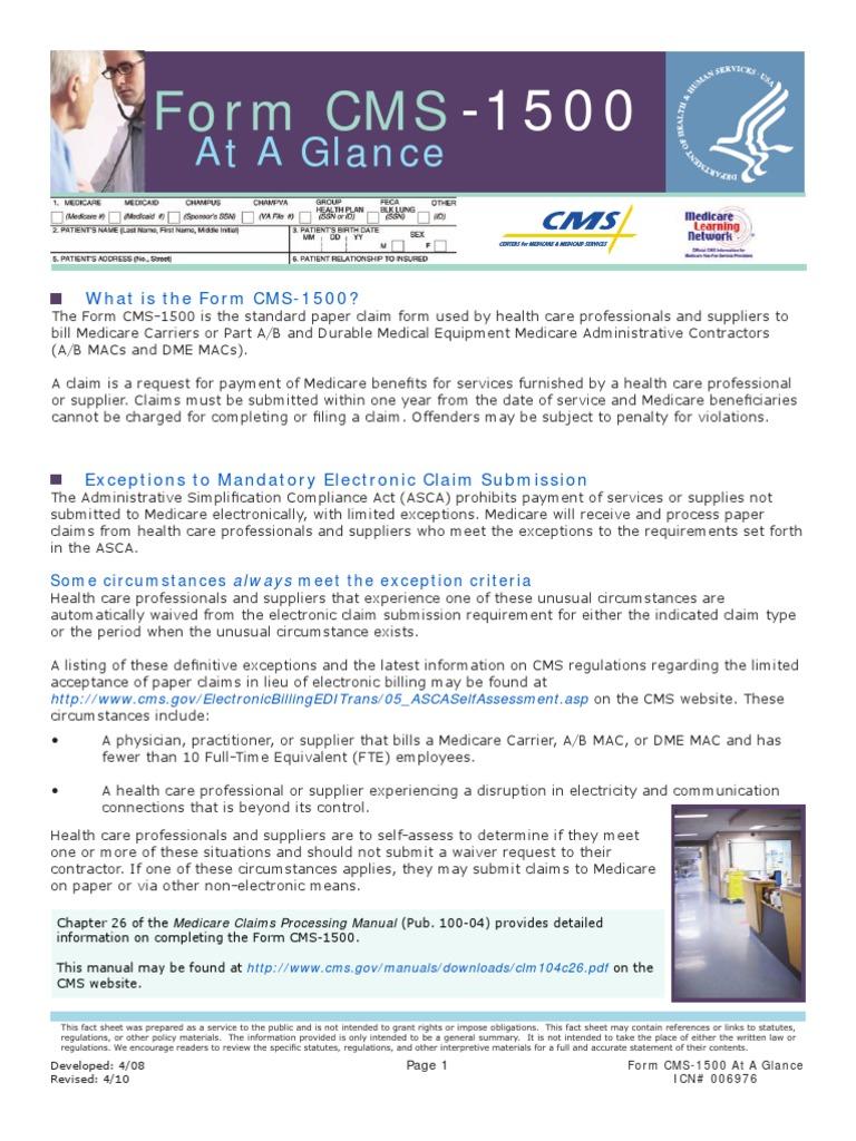 Fact Sheet - Hcfa - Cms -1500 | Medicare (United States) | Health Insurance  Portability And Accountability Act