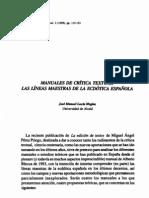 Manuales de Crítica Textual. Las Líneas Maestras de la Ecdótica Española