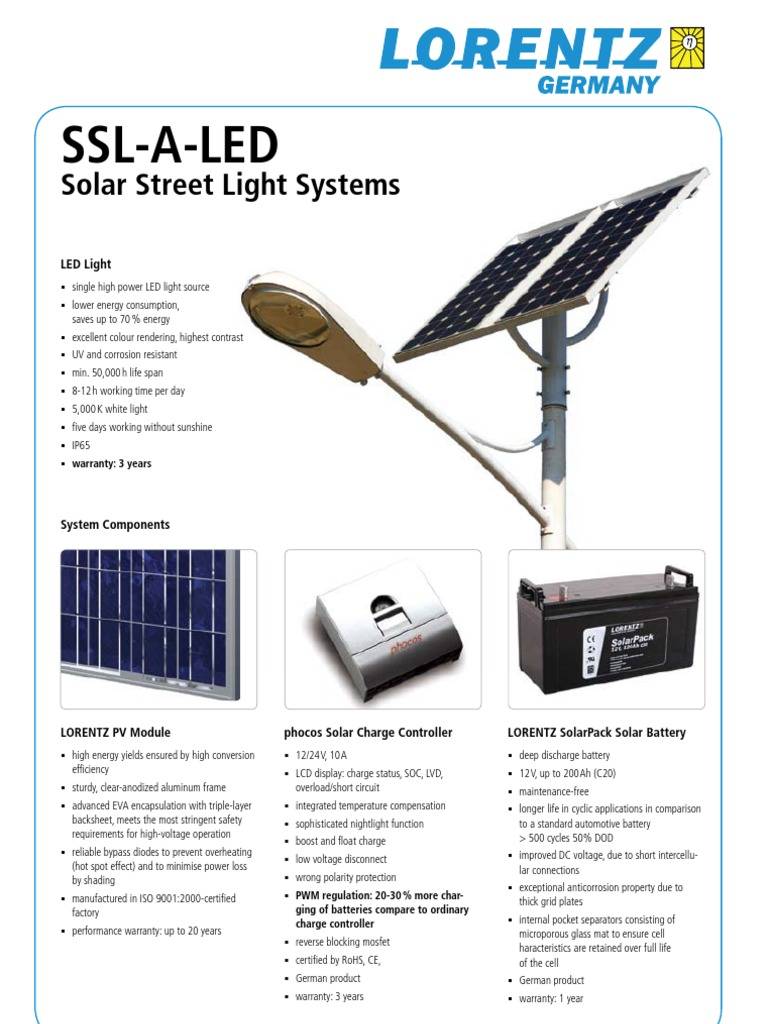 Lorentz Solar Streetlight System Ssl A Led Pi En 090618 091125 Web Battery Reverse Polarity Protection In Low Voltage Applications Light Emitting Diode Electricity