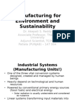 Manufacturing for the Environment and the Sustainability