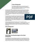 Introduction to Solar Refrigerator