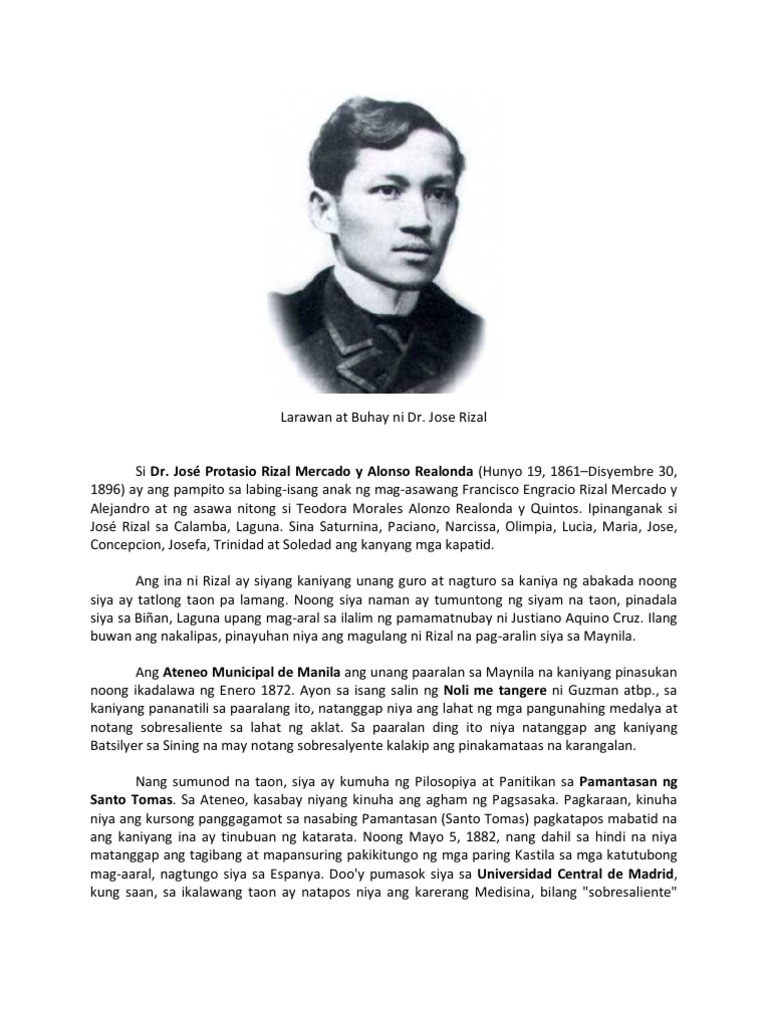 short essay of jose rizal The life of a hero | essay print because he became close to jose rizal writer of this essay and no longer wish to have the essay published on.