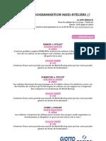 Programme des ateliers juillet