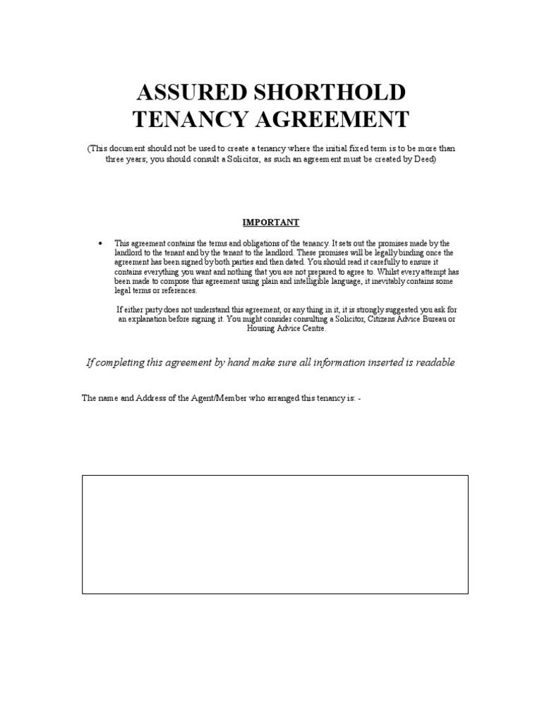 Blank Assured Shorthold Tenancy Agreement Leasehold Estate Eviction