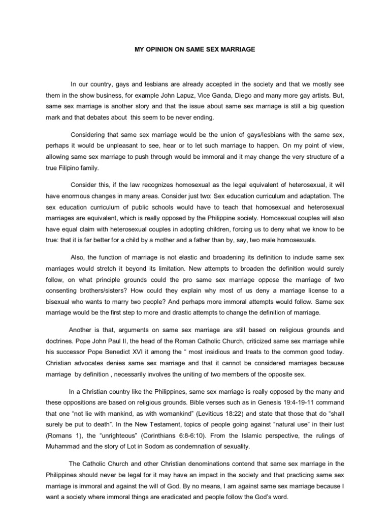 Same sex marriage essay body paragraph