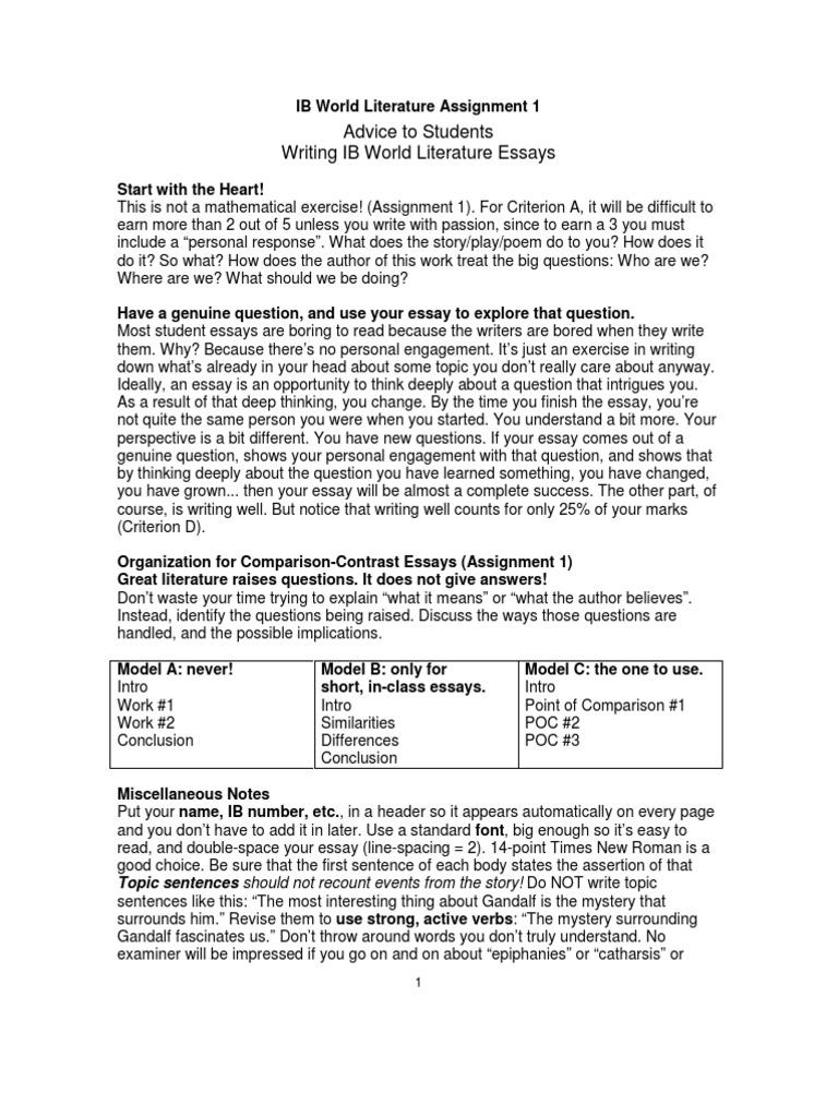 IB World Literature Assignment 1 | Citation | Essays