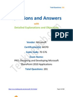 58541459 Testking Web 70 576 Exam Designing and Developing Microsoft SharePoint 2010 Applications