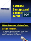Database Concepts and Definition of Terms