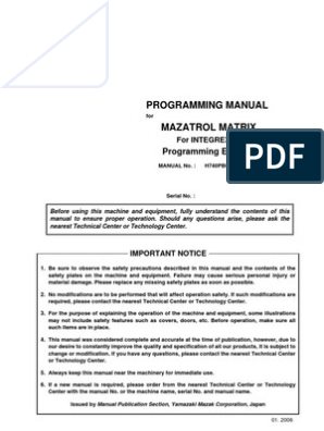 Mazak EIA - Programming Manula for Mazatrol Matrix | Machining