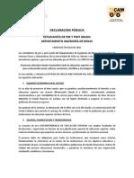 Declaracion Publica Estudiantes Minas 4 Julio