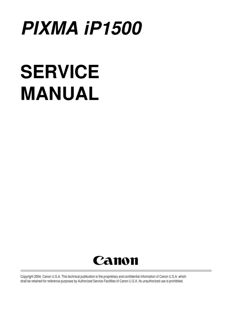 canon ip1500 service manual printer computing office equipment rh scribd com Canon Repair Manuals Owners Manual Canon