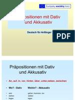 Prapositionen Mit Dativ Und Akkusativ Beispiele