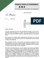 Réponse ANC - Cour Constitutionnelle Togo 30 juin 2011